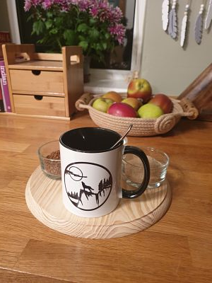 Printed Mug - Wolf Howling at the Moon - Dawn Caley - Westfield Metalcrafts