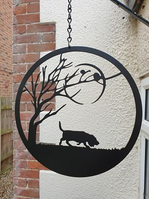 Wall Art - Bassett Hound under the Moon - Dawn Caley - Westfield Metalcrafts