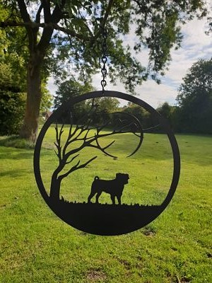 Wall Art - Pug under the Moon - Dawn Caley - Westfield Metalcrafts