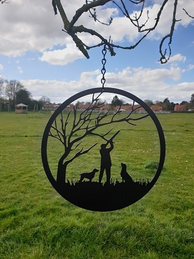 Wall Art - Shooting Man and Dogs - Dawn Caley - Westfield Metalcrafts