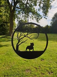 Wall Art - Staffie under the Moon - Dawn Caley - Westfield Metalcrafts