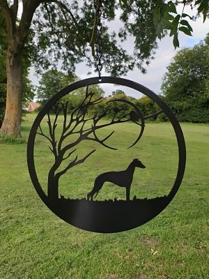 Wall Art - Whippet under the Moon - Dawn Caley - Westfield Metalcrafts