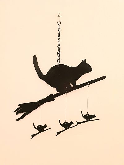 Wind Chimes - Cat on a Broomstick - Dawn Caley - Westfield Metalcrafts