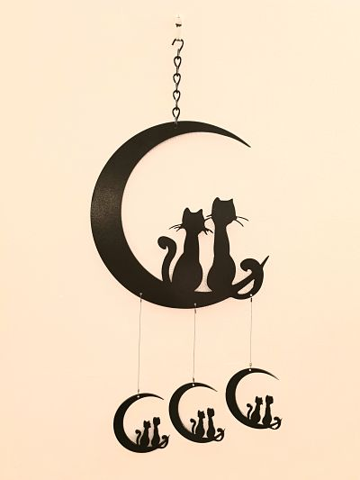 Wind Chimes - Cats on the Moon - Dawn Caley - Westfield Metalcrafts